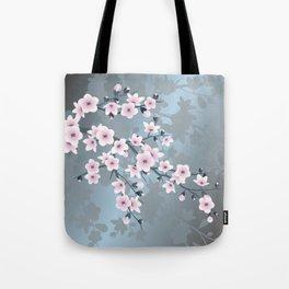 Dusky Pink Grayish Blue Cherry Blossom Umhängetasche
