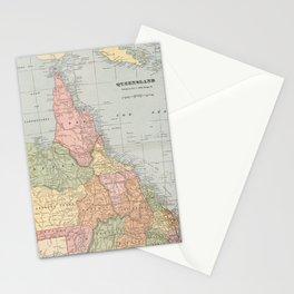 Vintage Map of Queensland Australia (1901) Stationery Cards