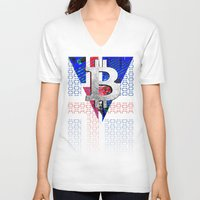 iceland V-neck T-shirts featuring bitcoin Iceland by seb mcnulty