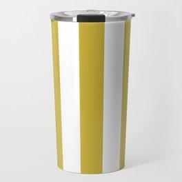 Old gold beige - solid color - white vertical lines pattern Travel Mug