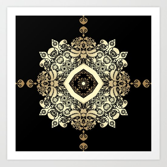 Golden Eastern ornament . Art Print