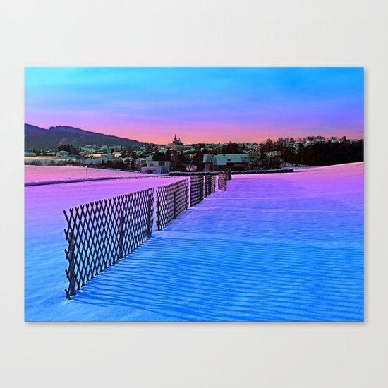 Fences on a winter sundown Canvas Print