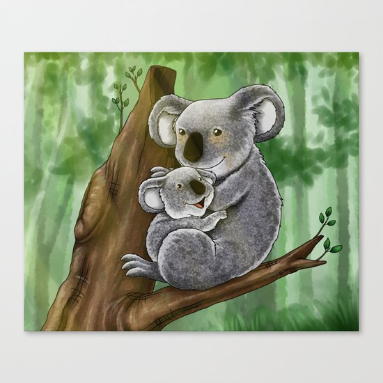 Cute Koala and Baby Canvas Print