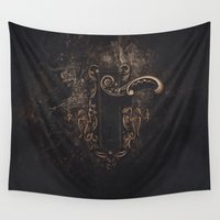 door Wall Tapestries featuring door by Erica Petit Illustrations
