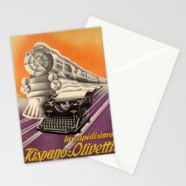 retro old la rapidissima hispano olivetti poster Stationery Cards