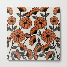 Brown Floral Pattern Metal Print