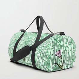 Garden Blooms - seamless pattern grass and flowers Duffle Bag