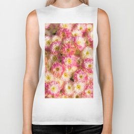 Pink and Yellow Flower Pattern (Color) Biker Tank