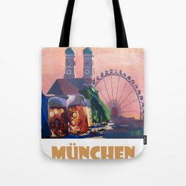 Munich Bavaria Germany Retro Travel  Poster Tote Bag