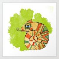 chameleon Art Prints featuring Chameleon by Nina Ezhik