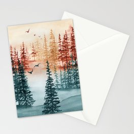 """Tri-color Forest"" landscape watercolor painting Stationery Cards"