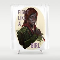 last of us Shower Curtains featuring Ellie the last of us by Rzuud