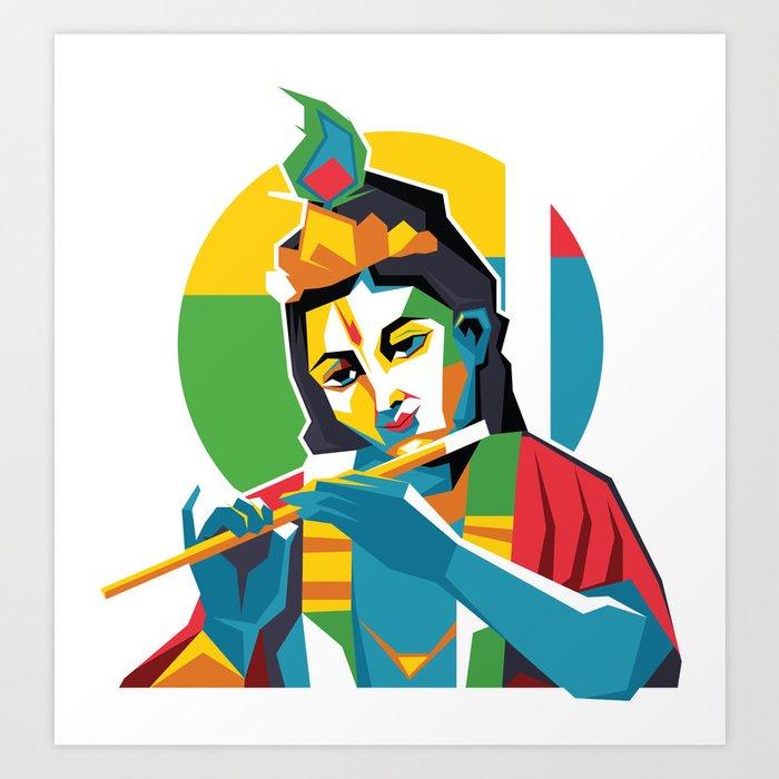 Lord Krishna - Hindu God - Geometric Avatar Art Print by hinducloud