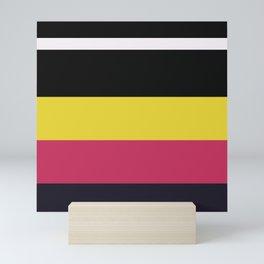 An unexampled harmonization of Anti-Flash White, Raisin Black, Smoky Black, Dark Pink and Piss Yellow stripes. Mini Art Print
