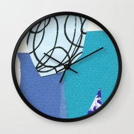 blue collage Wall Clock