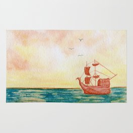 """""""Pirate Ship Sunrise landscape"""" watercolor painting Rug"""