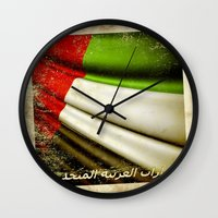 arab Wall Clocks featuring Grunge sticker of United Arab Emirates flag by Lulla