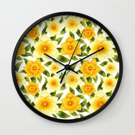 Narcissus seamless background. Spring mood Wall Clock