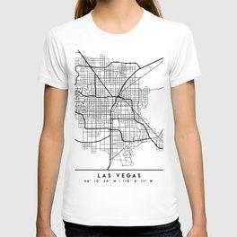 LAS VEGAS NEVADA BLACK CITY STREET MAP ART T-shirt