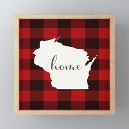 Wisconsin is Home - Buffalo Check Plaid Framed Mini Art Print