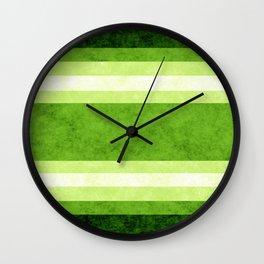 Grunge Stripes Simple Modern Minimal Pattern - Lime Green Wall Clock