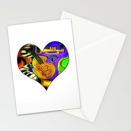 Mardi Gras Jazz Musical Heart Stationery Cards