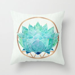 Modern Blue Succulent with Metallic Accents Throw Pillow