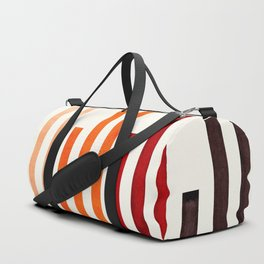Brown Minimalist Abstract Mid Century Modern Staggered Thin Stripes Watercolor Painting Duffle Bag