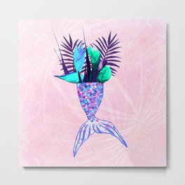 Summer Mermaid Tail With Tropical Flowers Bouquet Metal Print
