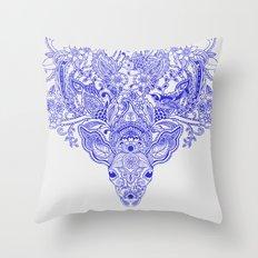 Little Blue Deer Throw Pillow