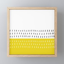 Black & white rain on yellow Framed Mini Art Print