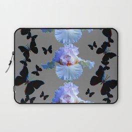 BLACK BUTTERFLIES & PASTEL IRIS MODERN ART DESIGN Laptop Sleeve