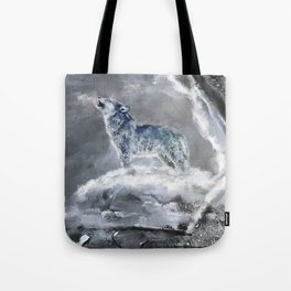 Blue Snow Wolf Tote Bag