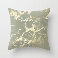 Kintsugi Ceramic Gold on Green Tea Throw Pillow