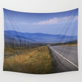 Montana Roadway running through the  Mountain Foothills Wall Tapestry