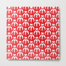 Mythosaur Skulls in Red and White Metal Print