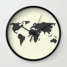 The Classic World Map - Chalkboard Black on Cream Linen Wall Clock
