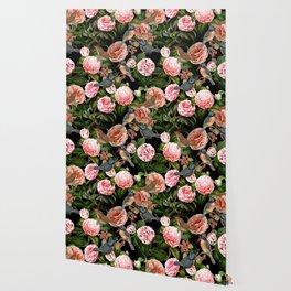 Vintage & Shabby Chic - Blush Camellia & Kingfishers Wallpaper