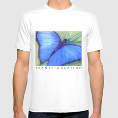 Blue Butterfly: Transfiguration MEDIUM Mens Fitted Tee White