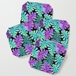 Monstera Turquoise Violet Coaster