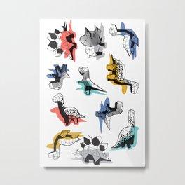 Geometric Dinos // non directional design black background multicoloured dinosaurs shadows Metal Print