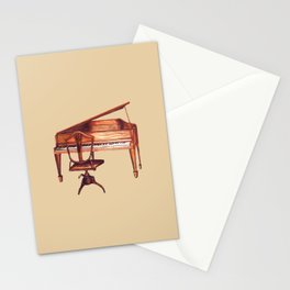 Antique Piano and chair bench art by Kristie Hubler Stationery Cards