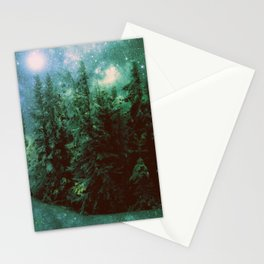 Galaxy Winter Forest Green Stationery Cards