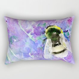 Bumblebee and Lavender Flowers Herbal Bee Honey Purple Floral design Rectangular Pillow