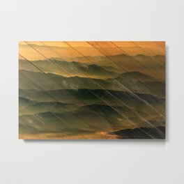 Faux Wood Foggy Mountain Layers at Sunset Rural Landscape Photography Metal Print