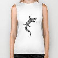 southwest Biker Tanks featuring Southwest Gecko by Lisa Argyropoulos