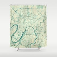 moscow Shower Curtains featuring Moscow Map Blue Vintage by City Art Posters