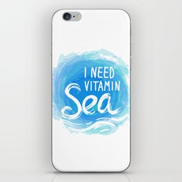 i need vitamin sea White text on blue abstract background, symbol of the sea ocean trendy print iPhone Skin