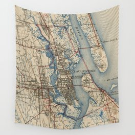 Vintage Map of St. Augustine Florida (1937) Wall Tapestry
