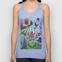 Garden Flowers Botanical Floral Watercolor on Paper Unisex Tank Top